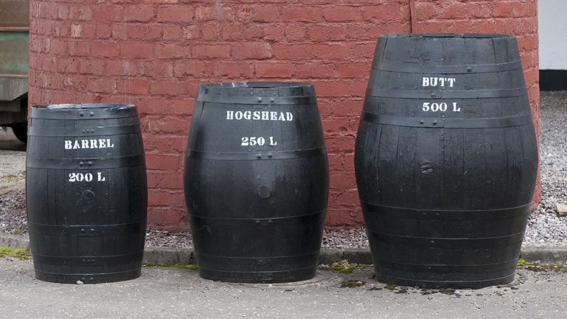 Display of cask sizes outside Benromach distillery