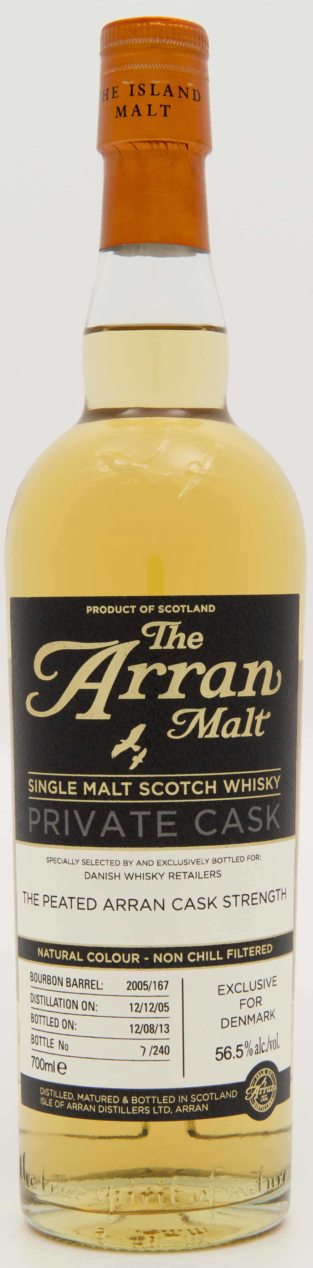 Billede: DSC_4822 - The Arran Malt - Private Cask - Danish Whisky Retailers The Peated Arran Cask Strength - bottle front.jpg