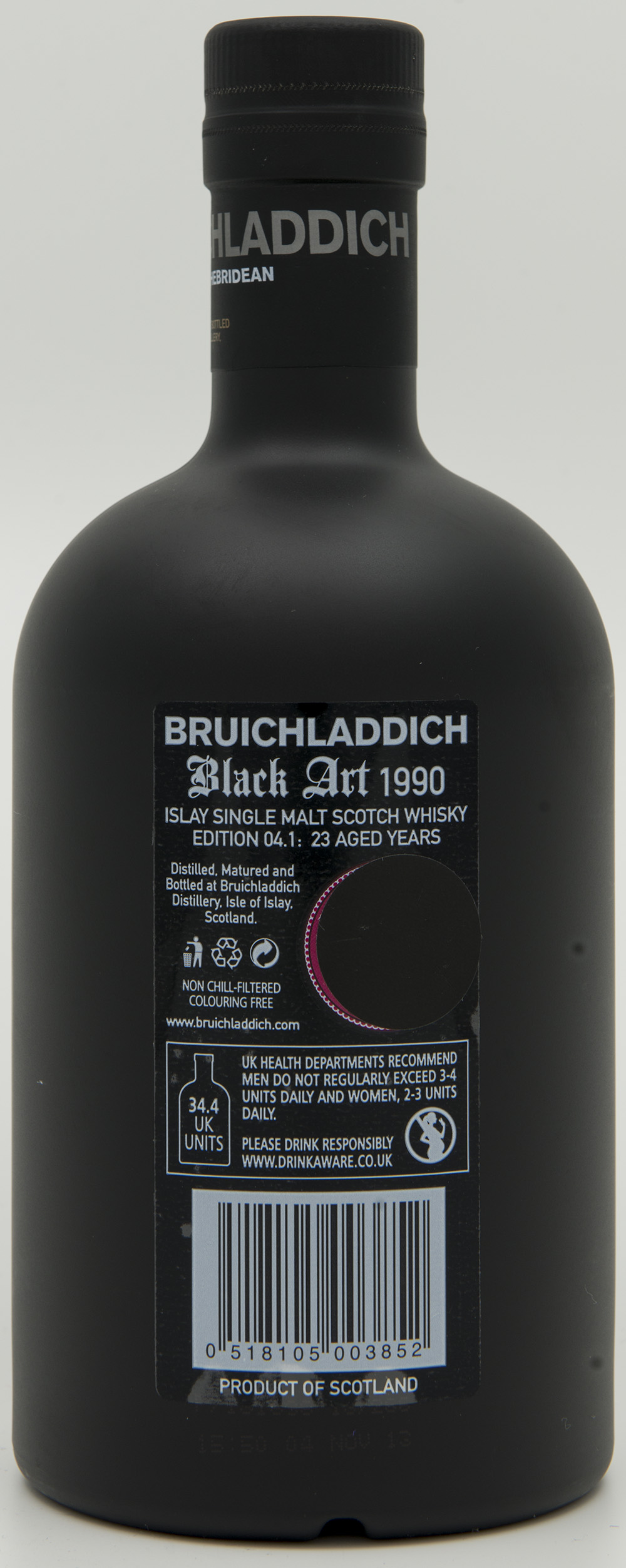 Billede: DSC_6184 - Bruichladdich Black Art 1990 - Edition 04.1 - 23 years - bottle back.jpg