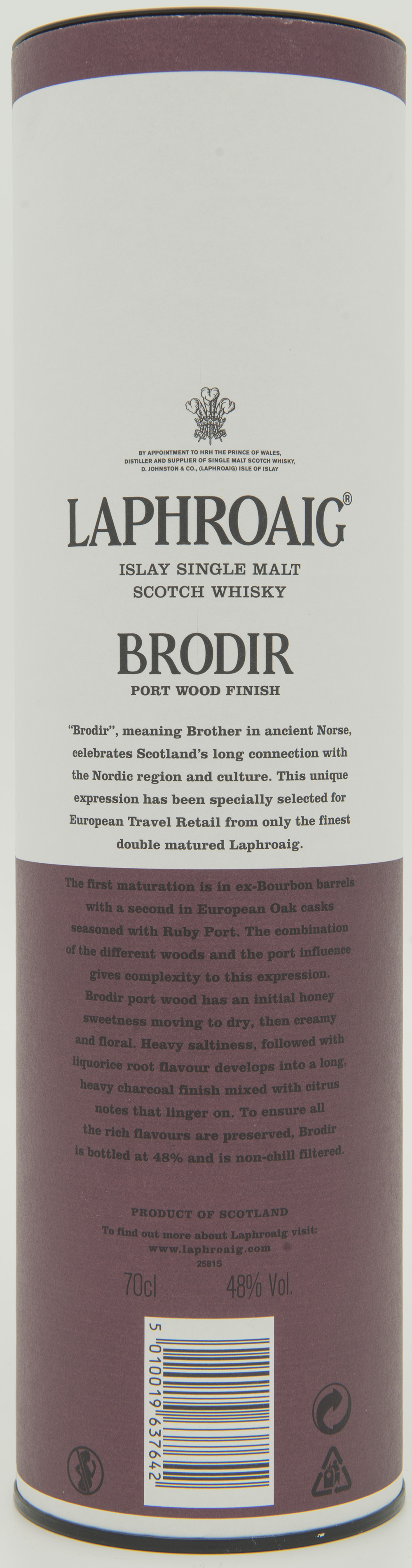 Billede: DSC_6444 - Laphroaig Brodir Port Wood Finish - Batch 001 - tube back.jpg