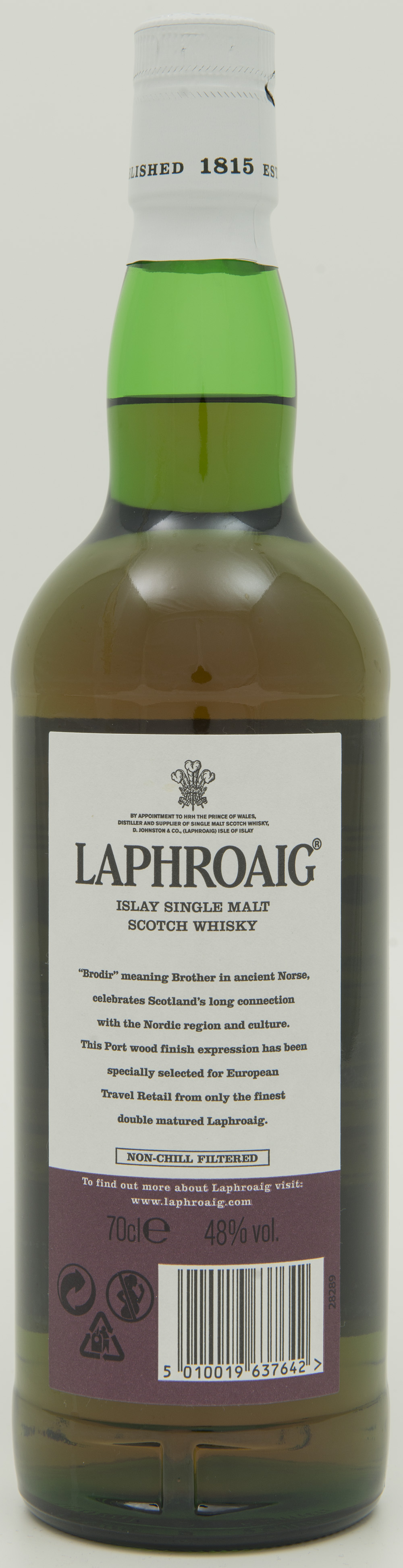 Billede: DSC_6446 - Laphroaig Brodir Port Wood Finish - Batch 001 - bottle back.jpg