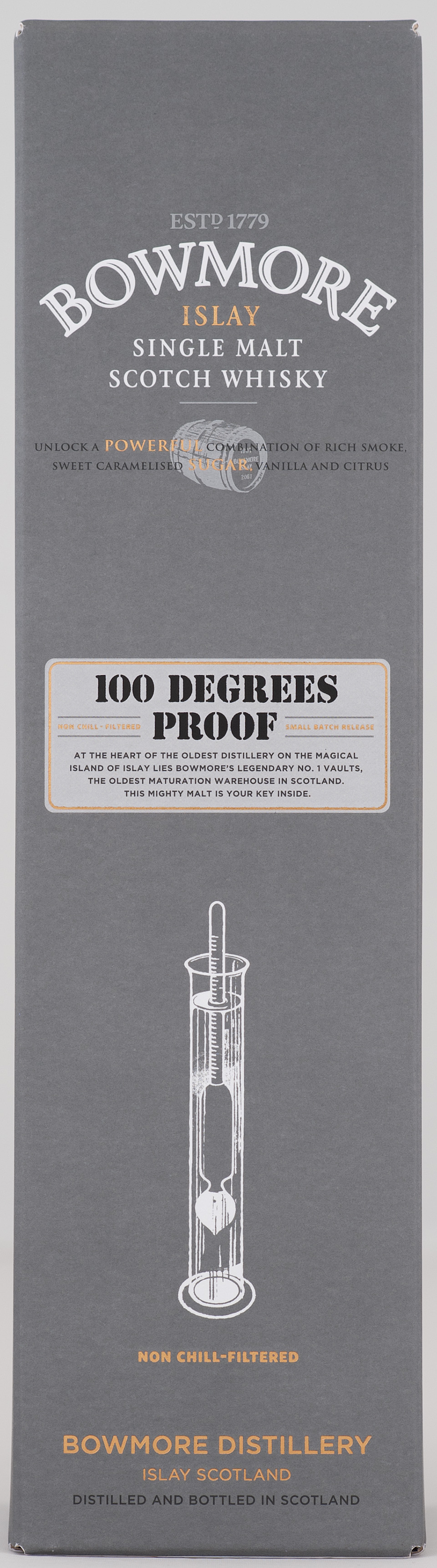 Billede: _DSC5614 Bowmore 100 Degrees Proof - box front.jpg