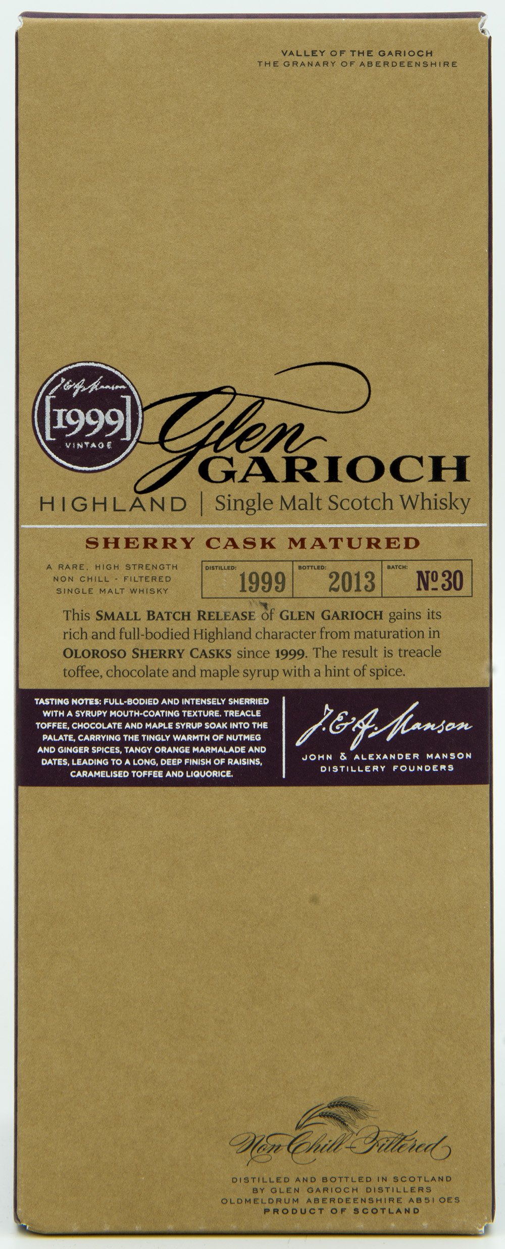 Billede: DSC_6559 GlenGarioch Batch 30 - Sherry Cask Matured 1999-2013 - box front.jpg
