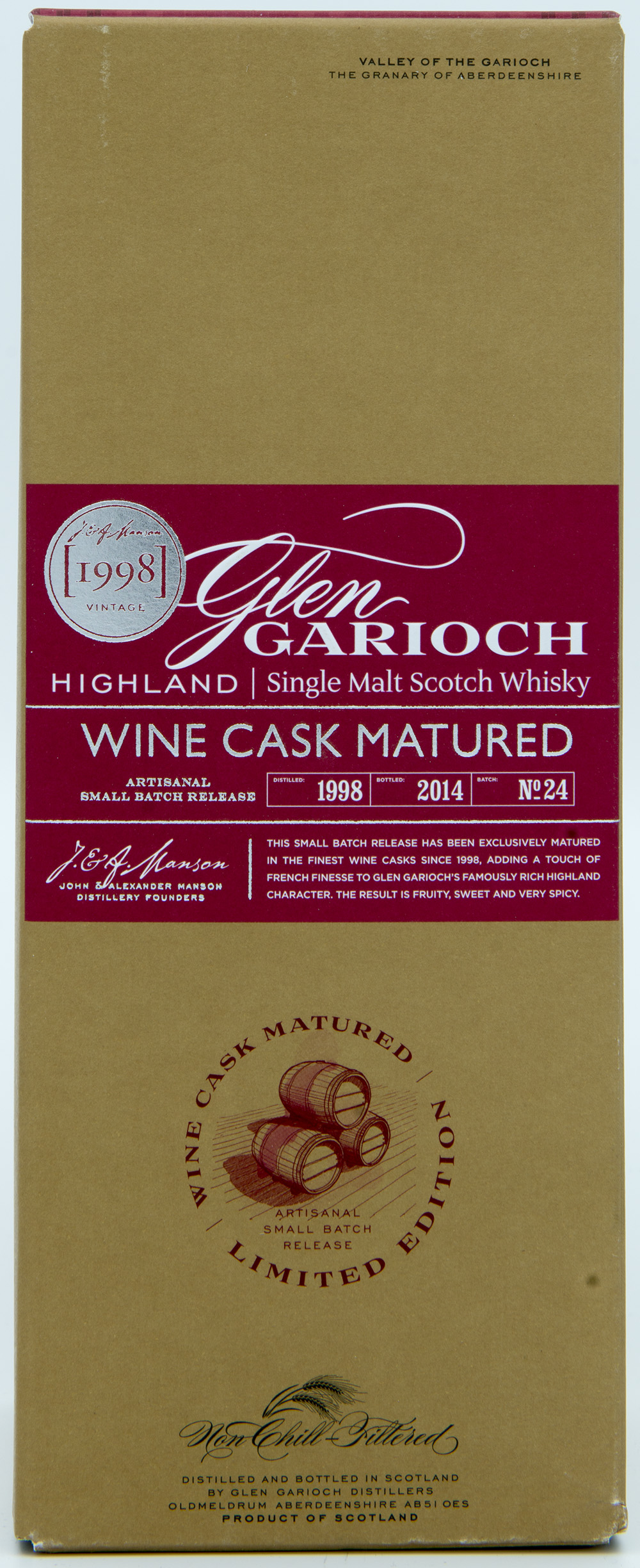 Billede: DSC_6563 Glen Garioch Batch 24 - Wine cask Matured 1998 - 2014 - box front.jpg