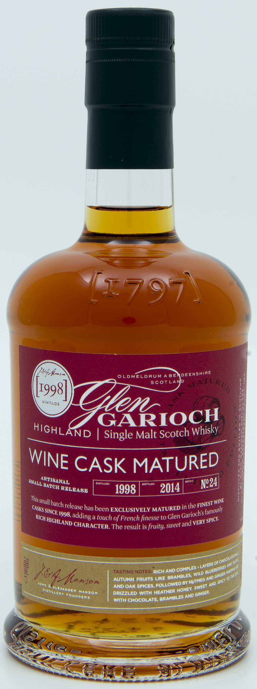 Billede: DSC_6567 Glen Garioch Batch 24 - Wine cask Matured 1998 - 2014 - bottle front.jpg