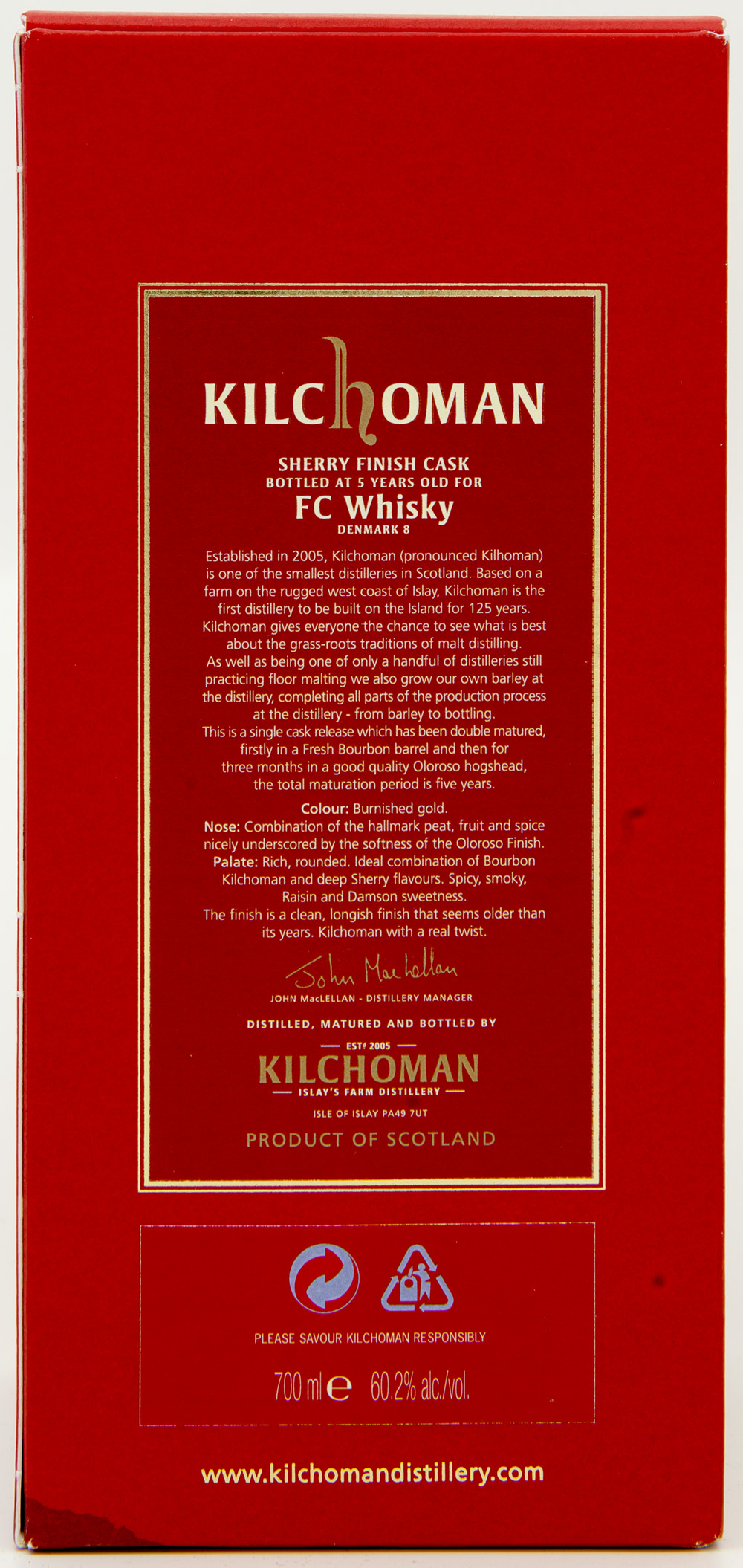 Billede: DSC_8203 - Kilchoman Denmark Single Cask Relase 460-2006 - box back.jpg
