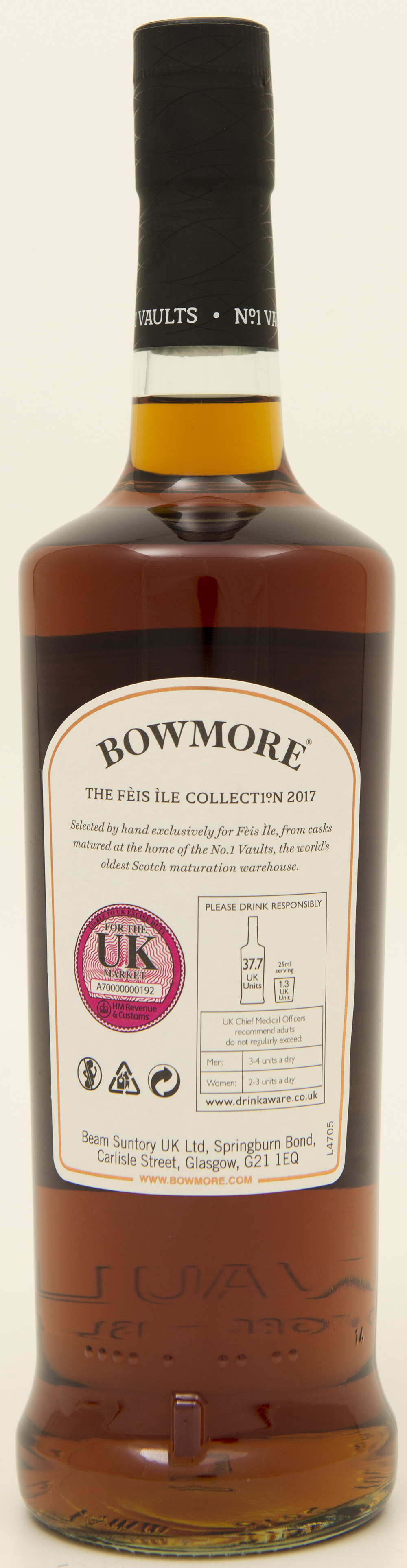 Billede: DSC_3218 - Bowmore 11 - Feis Isle 2017 - bottle back.jpg