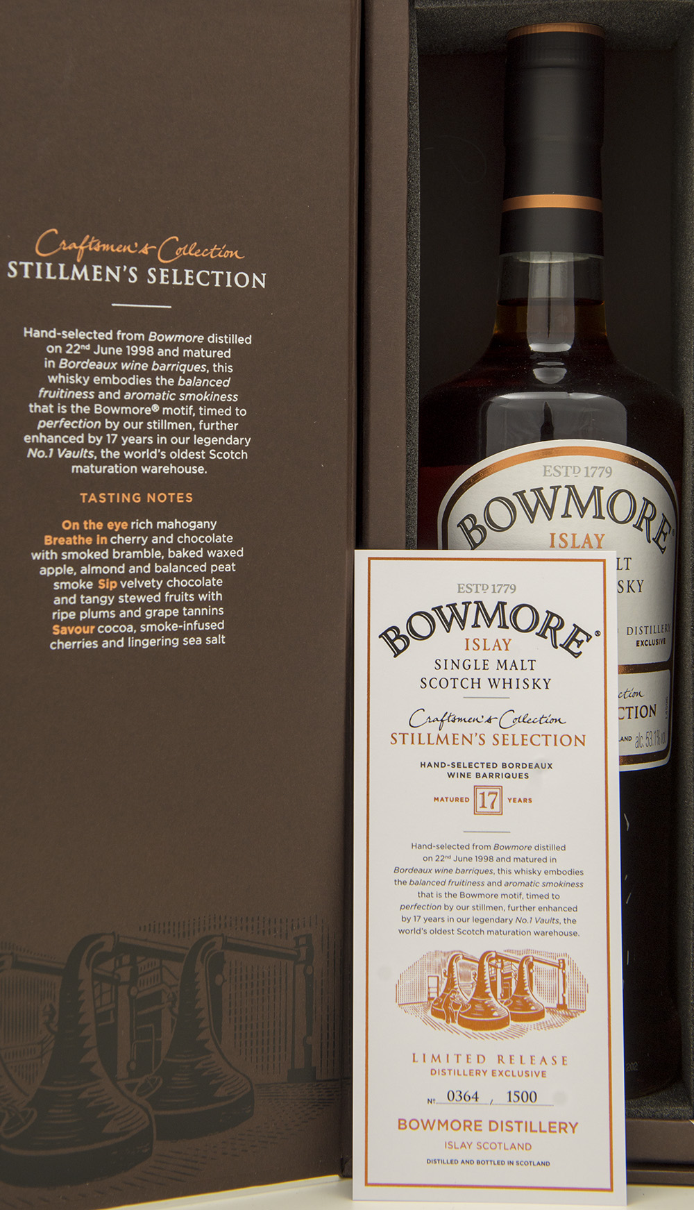 Billede: DSC_3222 - Bowmore Stillmen's Selection - box and certificate.jpg