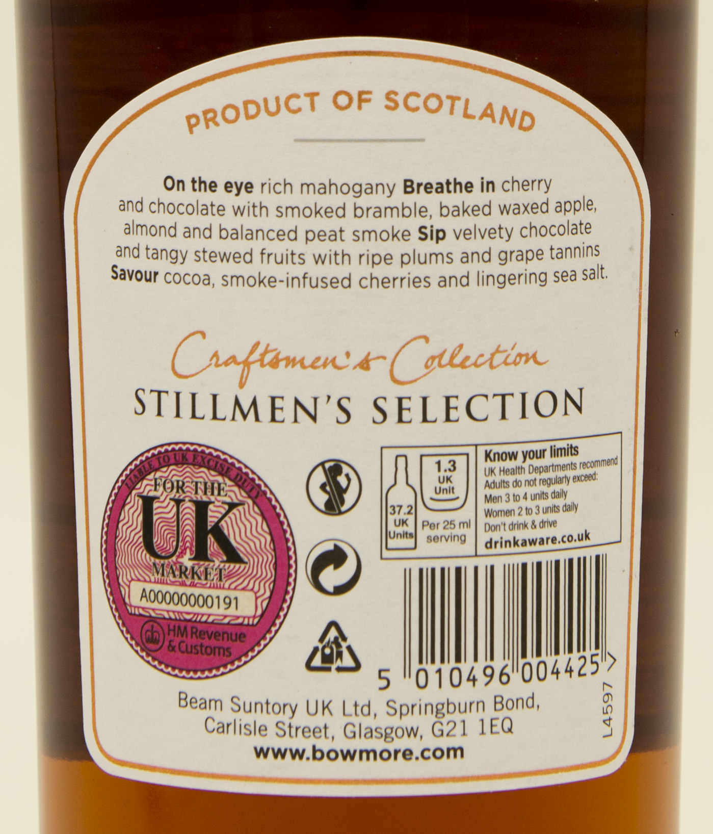 Billede: DSC_3224 - Bowmore Stillmen's Selection - back label.jpg