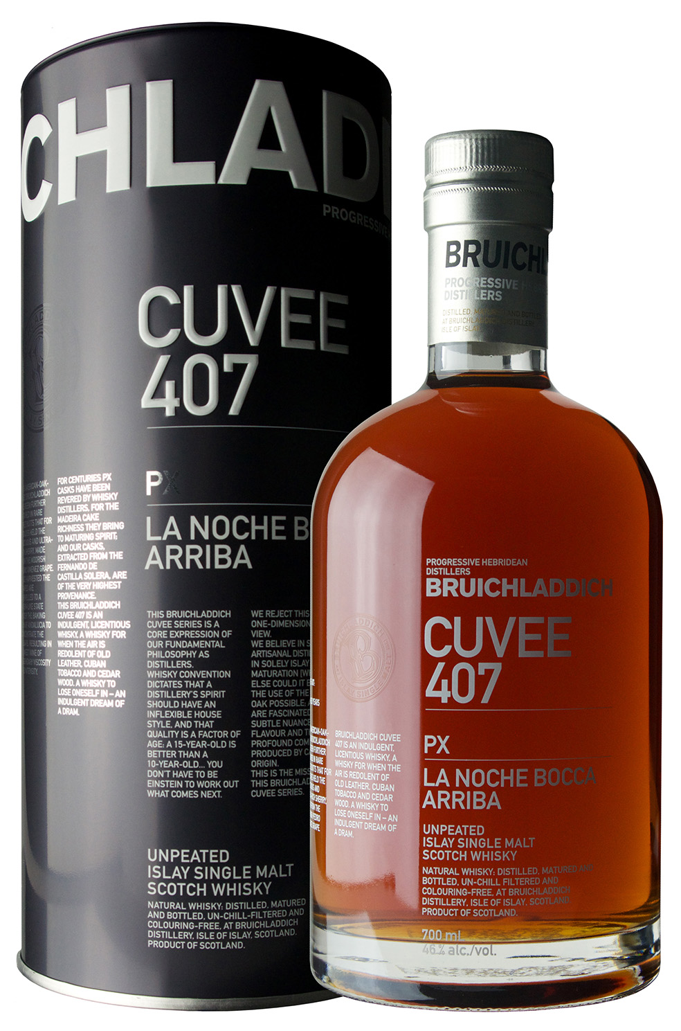 Billede: Bruichladdich Cuvee 407 PX - tube and bottle.jpg