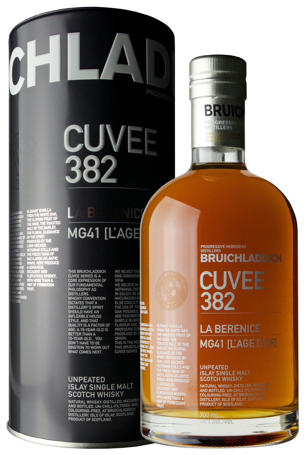 Billede: Bruichladdich Cuvee 382 La Berenice - tube and bottle.jpg