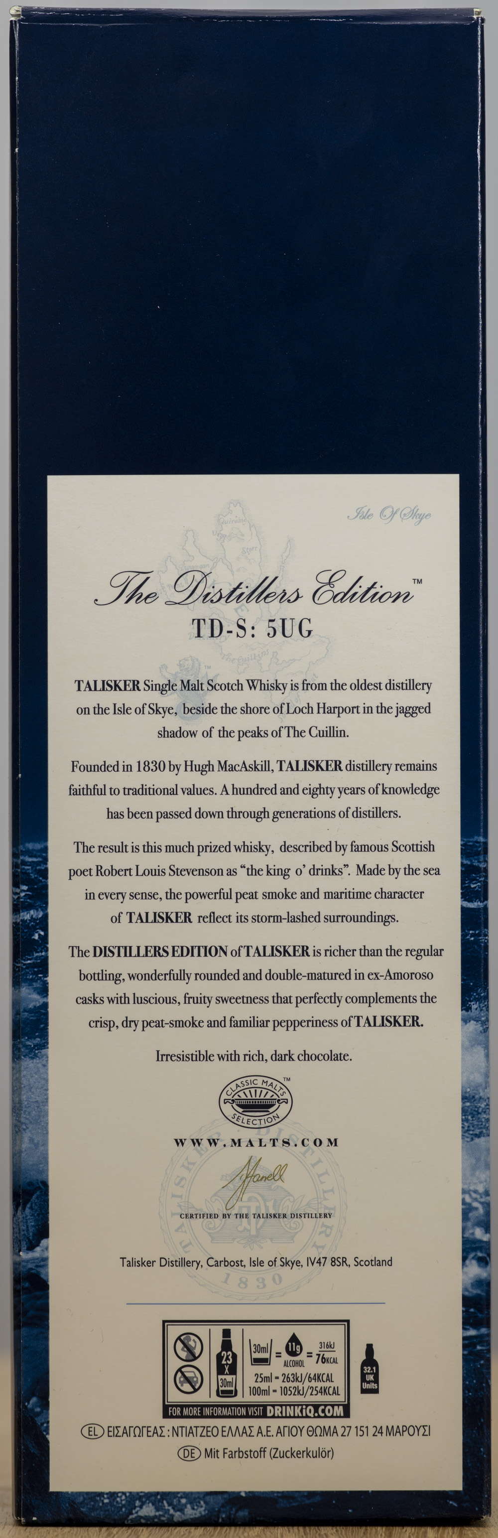 Billede: PHC_1581 - Talisker Distillers Edition - box back.jpg
