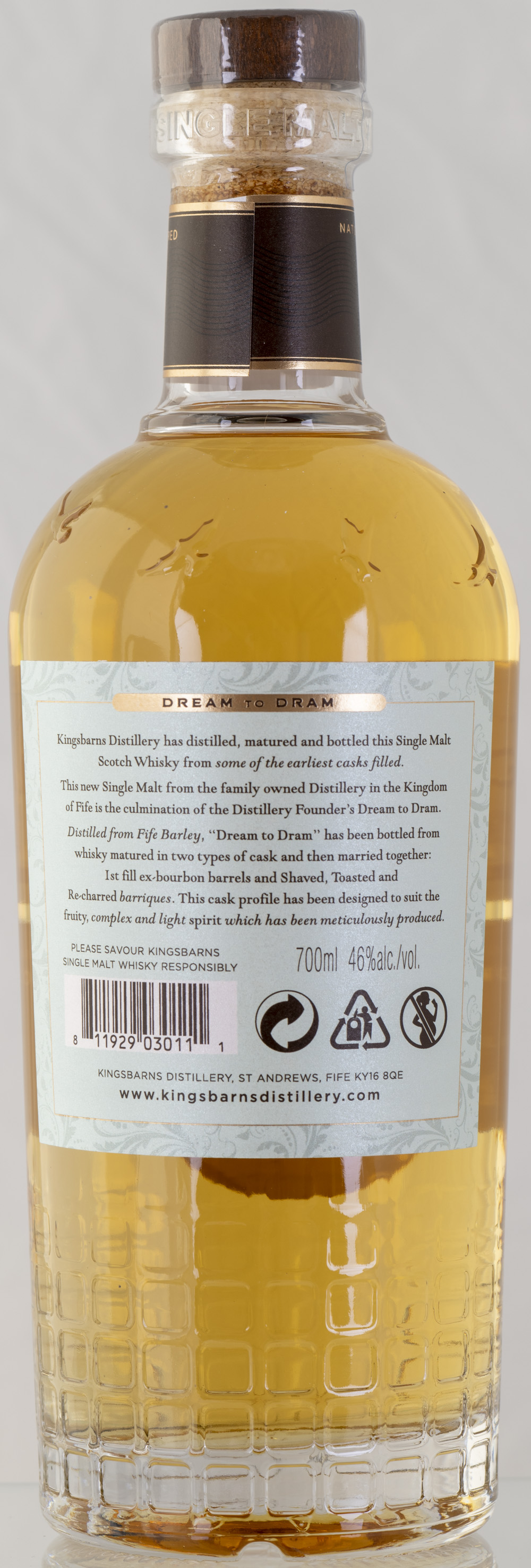 Billede: PHC_2232 - Kingsbarns Dream to Dram - bottle back.jpg