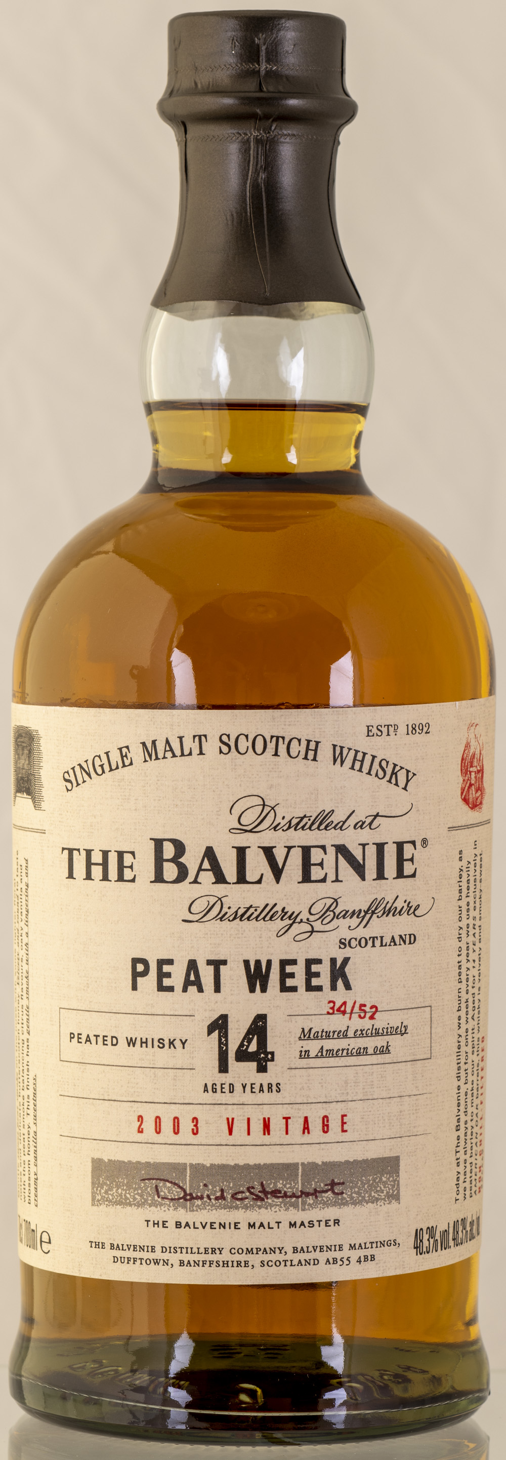 Billede: PHC_2284 - Balvenie Peat Week 2003 Vintage - bottle front.jpg