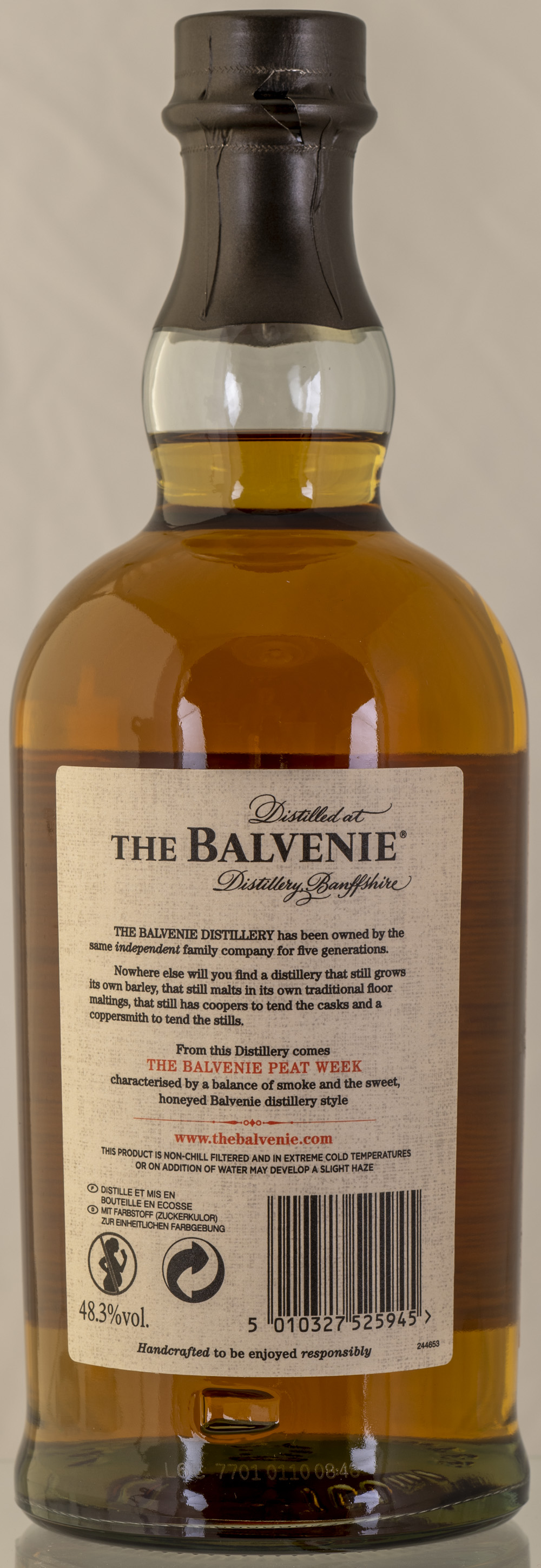 Billede: PHC_2285 - Balvenie Peat Week 2003 Vintage - bottle back.jpg