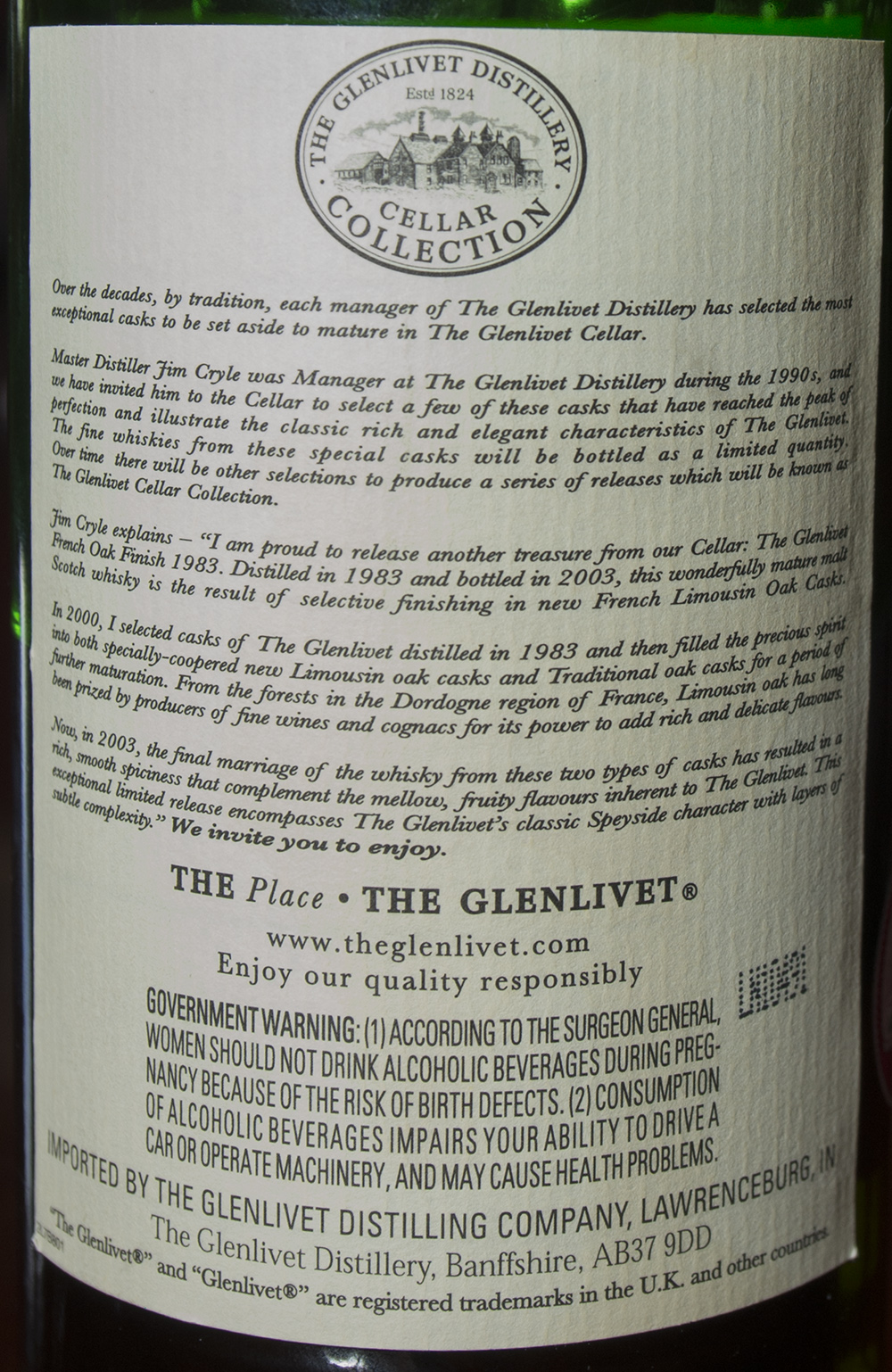 Billede: DSC_1024 The Glenlivet Cellar Collection French Oak reserver 1983 - back label.jpg