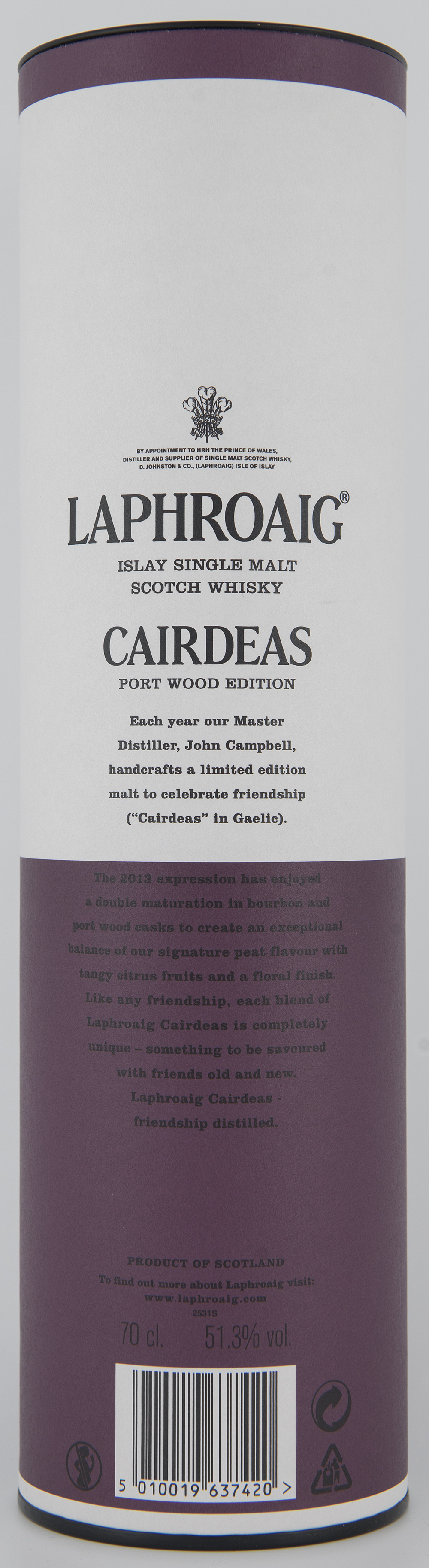 Billede: DSC_3217 Laphroaig Cairdeas Port Wood Edition (Feis Isle 2013) - tube back.jpg