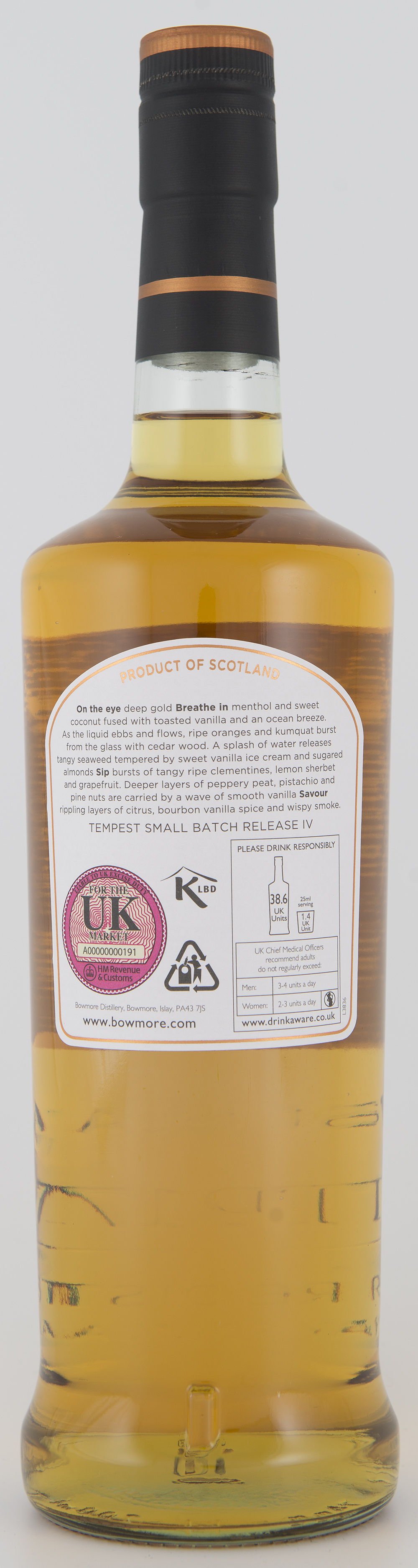 Billede: DSC_3208 Bowmore Tempest Batch IV - bottle back.jpg