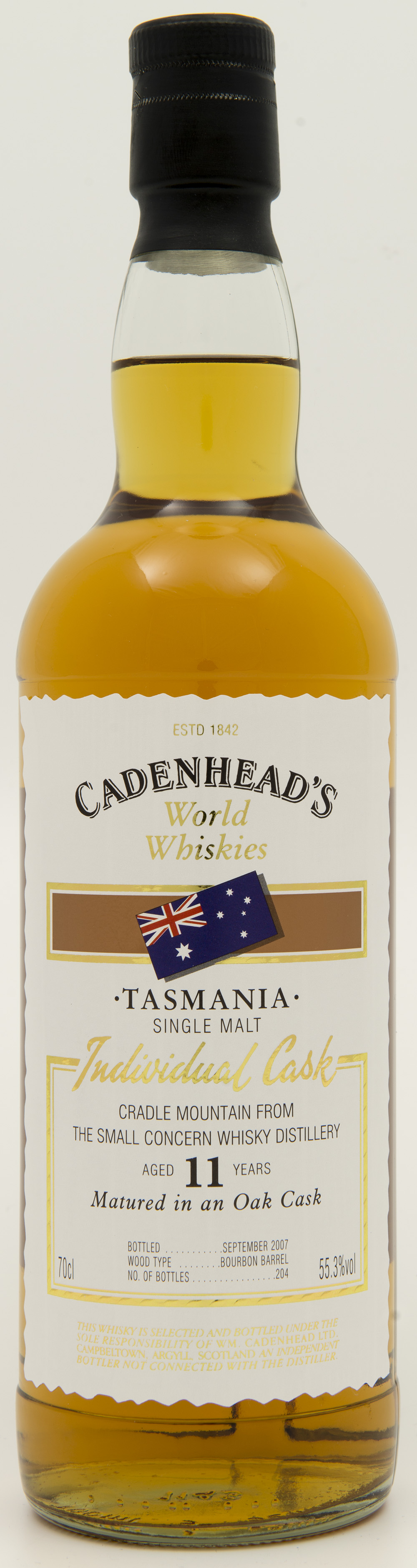 Billede: DSC_4809 - Cadenheads World Whiskies - Cradle Mountain from the Small Concern Distillery - 11 years - bottle front.jpg