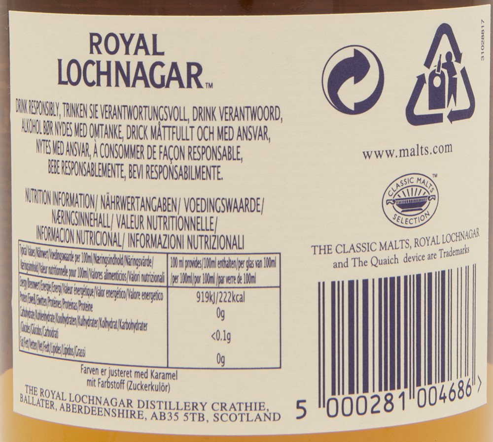 Billede: DSC_3742 Royal Lochnagar 12 - bottle back label.jpg